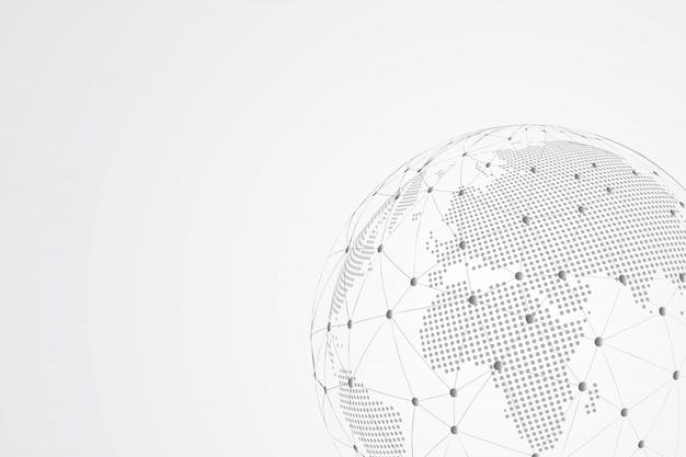 Ligne de purée abstraite et échelles de points avec global. ligne de réseau polygonale en treillis métallique 3d, sphère de conception, point et structure.