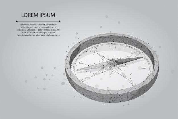 Ligne de purée abstraite et icône de boussole polygonale de point.
