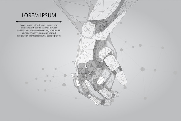 Ligne de purée abstraite et pointez les mains humaines et robot ensemble. future entreprise technologique. intelligence artificielle low poly