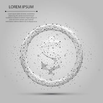 Ligne de purée abstraite et signe du dollar. illustration de l'entreprise. polygonale low poly