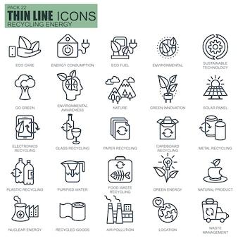 Ligne recyclage des icônes d'énergie