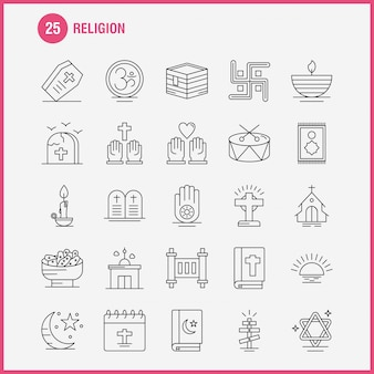 Ligne religion icons set pour infographics, kit ux / ui mobile