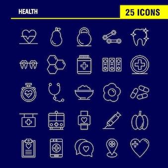 Ligne de santé icon set