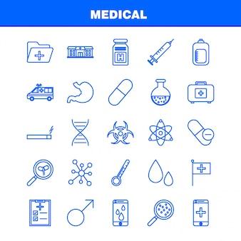 Ligne de santé icons set