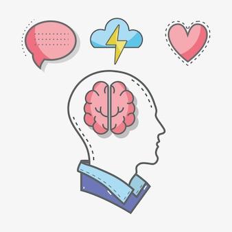 Ligne silhouette tête concept santé mentale