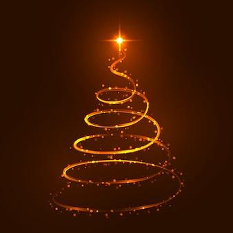 Ligne de spirale d'arbre de noël or brillant avec des paillettes scintillantes.