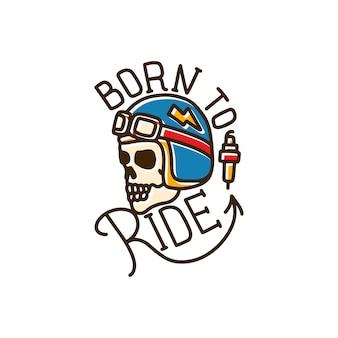 Ligne de tatouage born to ride skull