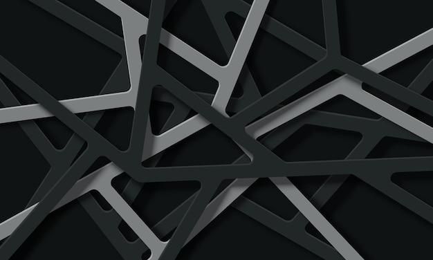 Ligne de technologie abstraite grise et noire se chevauchant avec des ombres. modèle pour de beaux sites web.