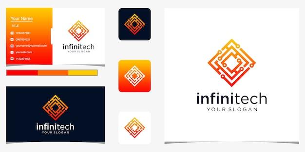 Ligne technologique créative à l'infini. conception de logo infini moderne et carte de visite