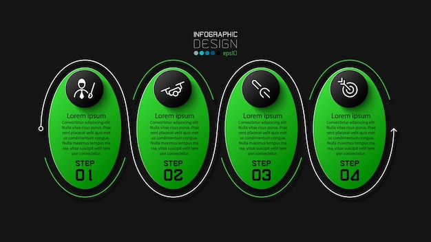 Ligne de trait ellipse design vert et noir 4 étapes conception infographique moderne
