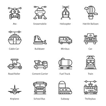 Ligne de transport icons set