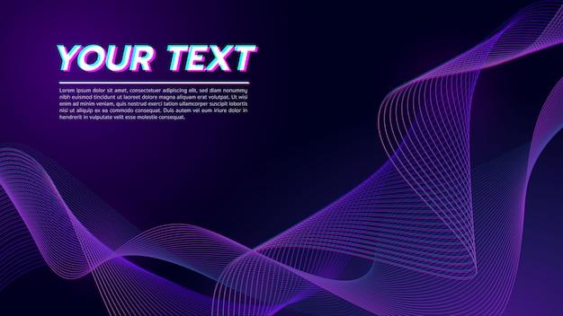 Ligne de vague abstraite ton fond violet foncé.