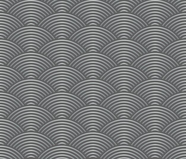 Ligne de vague de style japonais rétro vintage transparente motif échelle de gris