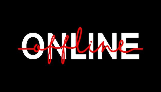 En ligne vers hors ligne - citation de lettrage de calligraphie