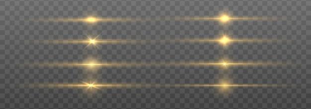 Lignes abstraites avec effet de lumière lueur. flash avec des rayons et des projecteurs. effets de lumières dorées isolés sur fond transparent. lignes brillantes d'or avec jeu d'étoiles.