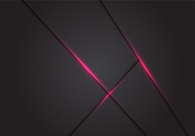 Lignes abstraites ombre lumière rose sur fond d'espace vide gris foncé.