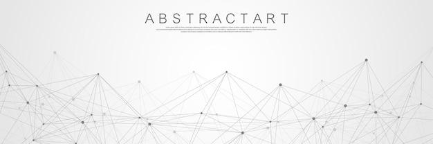 Lignes abstraites de technologie et fond de connexion de points. données numériques de connexion et concept de big data. visualisation des données numériques. illustration vectorielle.