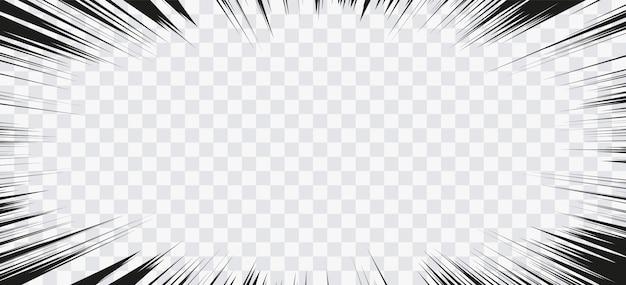 Lignes d'action de bande dessinée. cadre manga speed lines