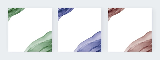Lignes aquarelles vertes bleues et brunes