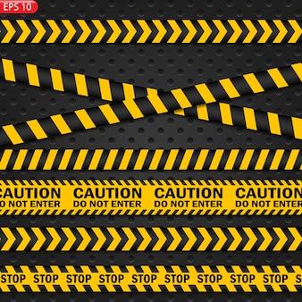 Lignes d'avertissement noires et couleur isolées. bandes d'avertissement réalistes. signes de danger. contexte.