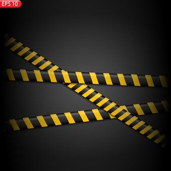 Lignes d'avertissement noires et jaunes isolées. bandes d'avertissement réalistes.