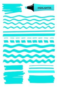 Lignes bleues dessinées à la main, carré et marqueur de surbrillance