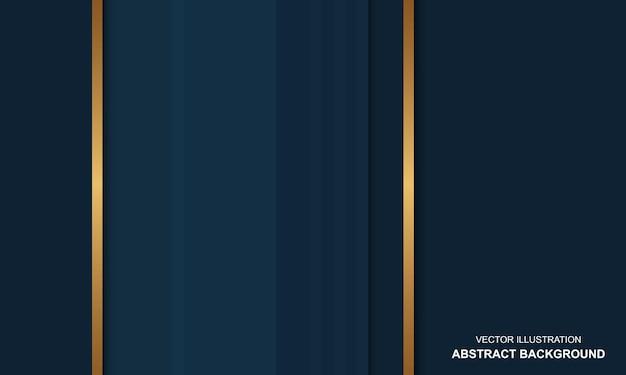 Lignes bleues et dorées de fond abstrait de luxe