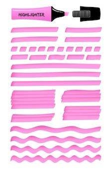 Lignes et boîtes de marqueur de surbrillance réaliste fuchsia