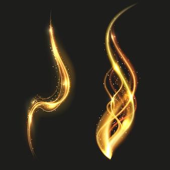 Lignes brillantes d'or brillant tourbillonnent effet de lumière de fumée dorée