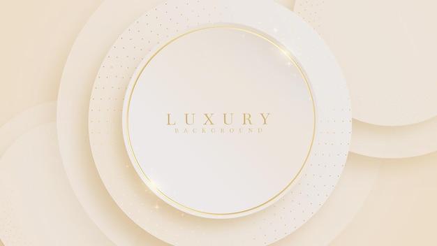 Lignes de cercle doré luxe mousseux sur fond de couleur pastel crème, illustration du vecteur sur la conception de modèle moderne qui se sent précieux et cher.
