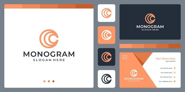 Lignes de cercle d'inspiration de conception de logo de lettre initiale c. conception de modèle de carte de visite.