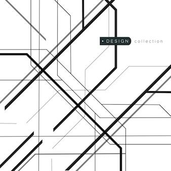 Lignes chaotiques aléatoires avec texture géométrique abstraite