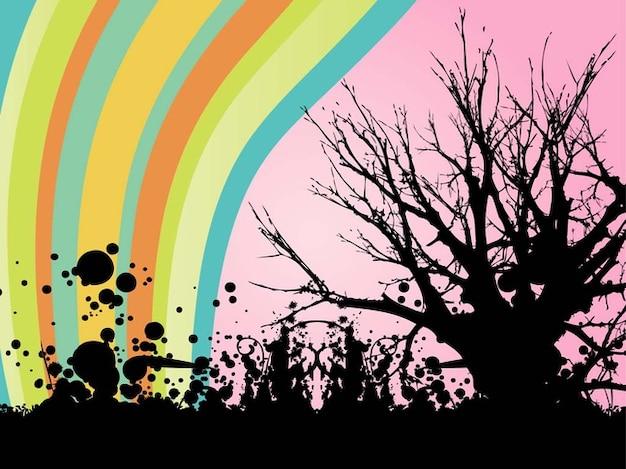 Lignes colorées sur l'arbre avec des encres noires