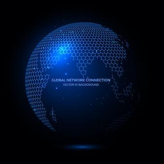 Lignes de connexion autour de fond earth globe, technologie de communication pour les entreprises internet.