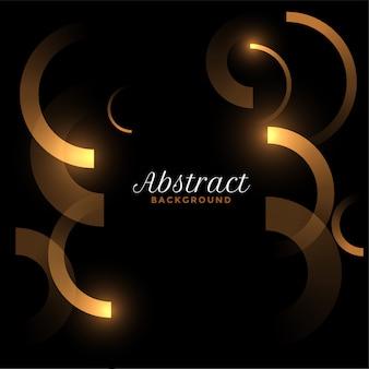 Lignes de courbes dorées abstraites sur fond noir