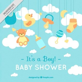 Lignes de fond avec des éléments de douche de bébé