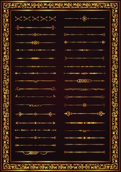 Lignes décoratives éléments pour séparateurs de lignes décoratives de conception vecteur couleur or