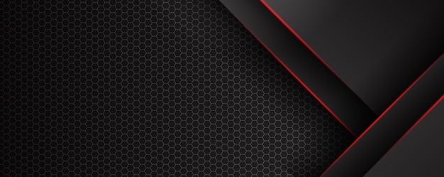 Les lignes diagonales abstraites se chevauchent avec une ligne rouge sur fond noir