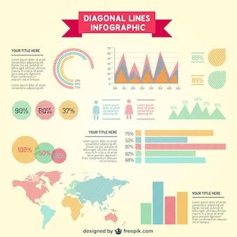 Lignes diagonales éléments infographiques