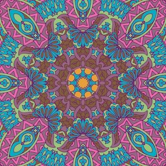 Lignes de doodle de mandala décoré de fond abstrait paisley floral géométrique carrelé boho motif sans couture ethnique ornemental.