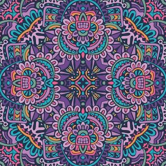 Lignes de doodle de mandala décoré de fond carrelage géométrique abstrait boho motif sans couture ethnique ornemental.