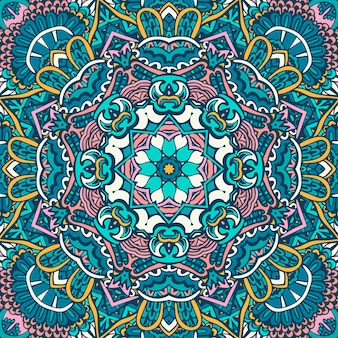 Lignes de doodle de mandala décoré de fond vecteur géométrique abstrait carrelé boho motif ethnique sans couture design textile ornemental