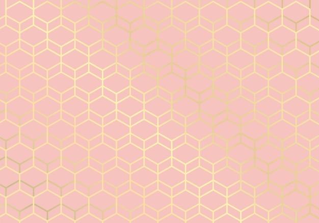 Lignes Dorées. Fond Rose Motif Géométrique. Style De Luxe. Vecteur Premium