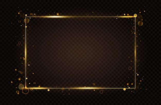 Lignes d'effet de lumière de cadre rectangulaire brillant d'or avec des reflets flash abstraits volants