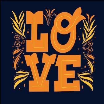 Lignes élégantes et lettrage d'amour