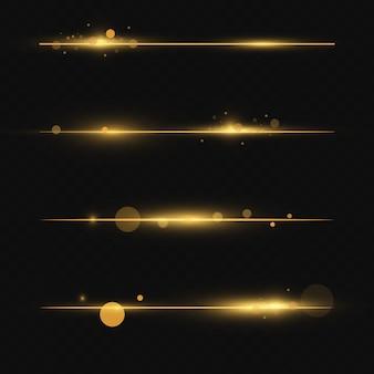 Lignes avec étoiles et paillettes isolés sur fond transparent.