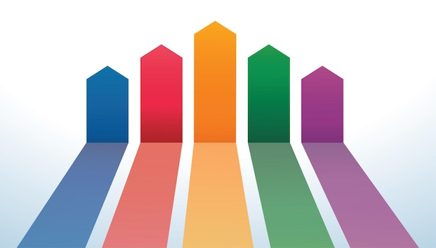 Lignes de flèches colorées arrière-plan du modèle vector illustration eps10