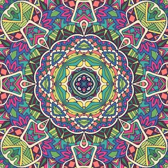Lignes de griffonnage de mandala et feuilles décorées de fond. abstrait géométrique paisley boho motif sans couture ethnique ornemental.