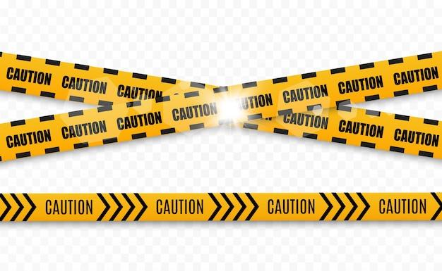 Lignes isolées. bandes d'avertissement. mise en garde. signes de danger.