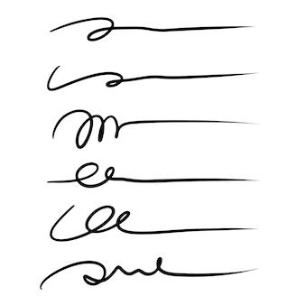 Lignes de lettrage à la main - lignes de signature isolées sur fond blanc. illustration vectorielle.